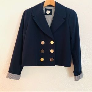 A New Day Navy Cropped Blazer Gold Buttons